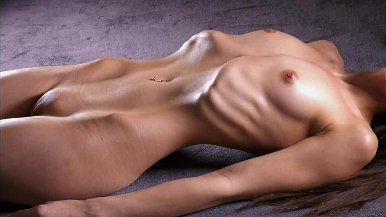 Lusty firm flat stomach on sexy nude model
